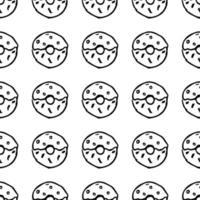 Seamless pattern with donuts. Doodle vector with donuts icons on white background.