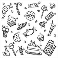 Vector illustration with sweet food. Doodle vector with sweet food icons on white background. Vintage sweets illustration, sweet elements background for your project, menu, cafe shop.