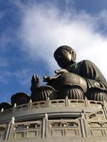 Giant Buddha statue and Po Lin monastery in Hong Kong, Lantau Island China photo