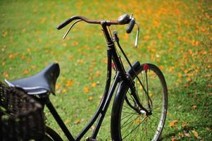 Bicicleta antigua clásica vintage en el parque al aire libre foto