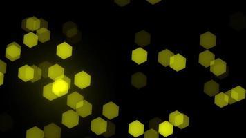 yellow hexagon particle bokeh animation video