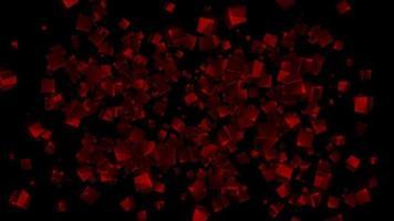 animation de boucle de particules 3d polygone carré rouge video