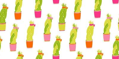 Seamless pattern with succulent plant in bright colorful pots vector