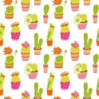Seamless pattern with cactuses succulent plant in bright colorful pots vector
