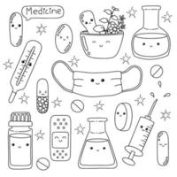 Medicine theme. Coloring book page for kids. Cartoon style character. Vector illustration isolated on white background.