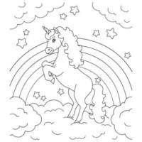 Unicorn on a cloud. Coloring book page for kids. Cartoon style character. Vector illustration isolated on white background.
