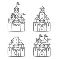 Fairytale castle. Coloring book page for kids. Cartoon style. Vector illustration isolated on white background.