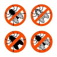 Fly insect. Prohibition sign. Black silhouette. Design element. Vector illustration isolated on white background. Template for repellent.