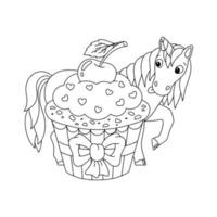 Magic fairy unicorn. Cute horse. Coloring book page for kids. Cartoon style character. Vector illustration isolated on white background.