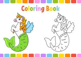 Coloring book for kids. Cute mermaid unicorn. cartoon character. Vector illustration. Fantasy page for children. Black contour. Isolated on white background.