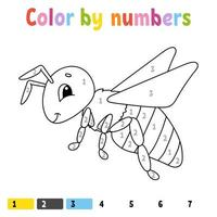 Color by numbers. Coloring book for kids. Cheerful character. Vector illustration. Cute cartoon style. Hand drawn. Fantasy page for children. Isolated on white background.