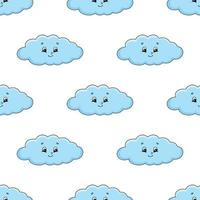 Happy cloud. Colored seamless pattern with cute cartoon character. Simple flat vector illustration isolated on white background. Design wallpaper, fabric, wrapping paper, covers, websites.