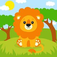 A cute lion is standing on the grass. Beautiful landscape. Colored background for your design. For wallpapers, covers, postcards, banners. Vector illustration.