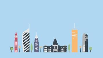 concept de grande ville de style dessin animé animé video
