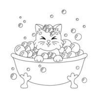 A cute kitten sits in a bubble bath. Coloring book page for kids. Cartoon style character. Vector illustration isolated on white background.