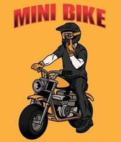 mini hombre en bicicleta vector