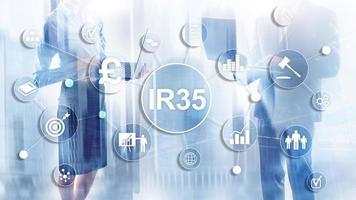 concepto de finanzas ir35. legislación fiscal del Reino Unido, elusión fiscal foto
