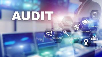 Audit business and finance concept. Analysis Annual Financial Statements, Analyze return on investment. Mixed media abstract background photo