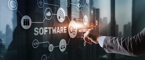 SOFTWARE inscription on the virtual screen. It Technology concept photo