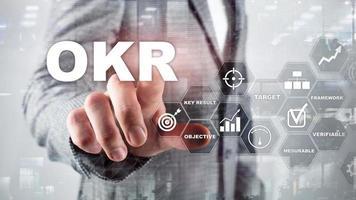 okr - concepto de resultado clave objetivo. medios mixtos en una pantalla virtual estructurada. gestión de proyectos foto