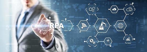 RPA. Robotic process automation concept on virtual screen photo