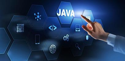 Business Man pushing on a touch screen interface Java Programming concept. Virtual machine photo