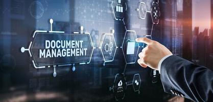 Document Management Data System Business Technology Concept. DMS on virtual screen photo