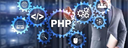 PHP coding Concept. Programmer search. Technology Background photo