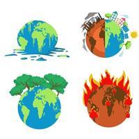 Globo derretido adecuado para el cambio climático o la ilustración del calentamiento global vector