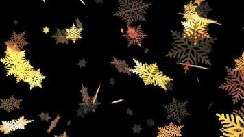 falling glow gold digital snowflake on black background animation. video