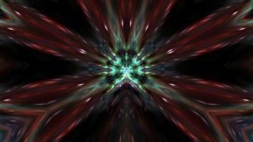 Dark orange green abstract motion wave kaleidoscope lines. video