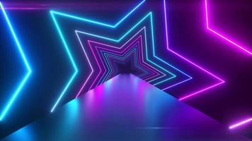 Abstract digital background with rotating neon stars video