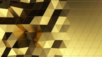 Beautiful gold low poly surface morphing in abstract 3d animation video