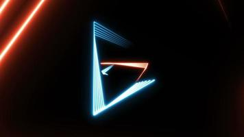 Seamless loop abstract background with colorful neon triangles video