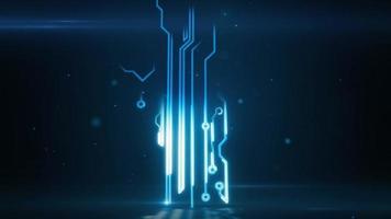 arbre de croissance électronique de haute technologie de carte de circuit imprimé abstrait bleu video