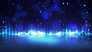 blauwe equalizer met reflectie loopbare feestachtergrond video