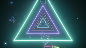 An endless tunnel of luminous multicolored neon triangles for music videos