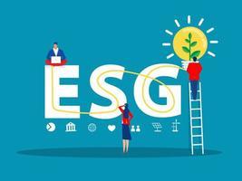 ESG or ecology problem concept, businessman leader seedling growth invest concept vector illustrator