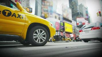 Yellow taxi waiting in traffic in New York City video