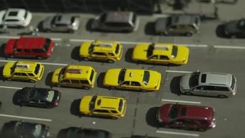 Overhead view of traffic in gridlock on a New York Street video