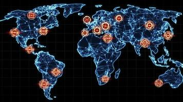 Map of world with marked points seamless loop animation video