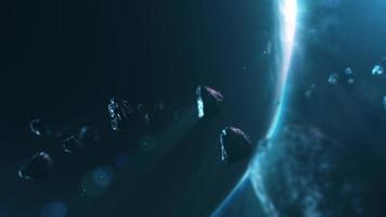 3D animation of asteroids flying through solar system with planet and blue light in the background video