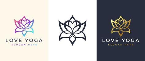 Line art love Flower logo design, lotus Floral logo template vector