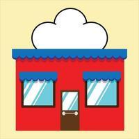 Ilustración de vector exterior de fachada de mini tienda. Fachada del edificio de la tienda de la calle del mercado de estilo plano.
