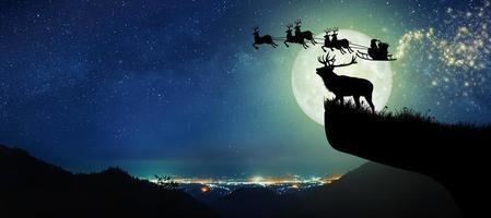 silueta de reno de pie en el acantilado para ver a santa claus volando en sus renos sobre la luna llena en la noche de navidad. foto