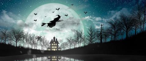 silueta de halloween de bruja volando sobre la luna llena. foto