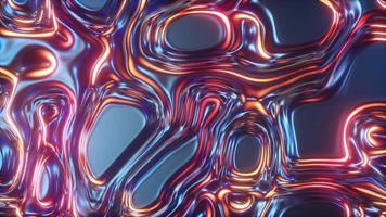 Abstract glowing 3d render holographic oil surface background video
