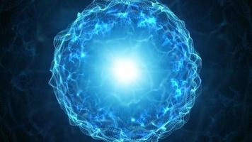 esfera de plasma azul com cargas de energia video