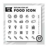 Set of outline icons about food. Contains such Icons as full cutlery, glass, spoon. Editable vector