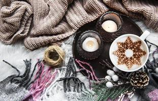 Christmas or winter composition. Coffee and decorations. photo